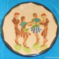 Antigüedades: GRAN PLATO ANTIGUO FIRMADO, 35,5 CM. Lote 156296718