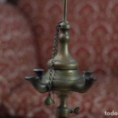 Antigüedades: ANTIGUA LÁMPARA DE ACEITE, CANDIL, VELÓN - BRONCE. Lote 155508546