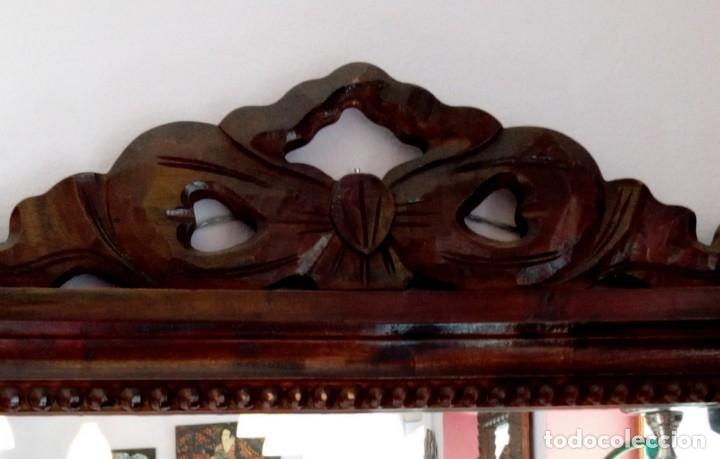 Antigüedades: GRAN ESPEJO ISABELINO DE MADERA DE CAOBA - 120 X 55 CM - Foto 4 - 156299642