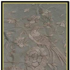 Antigüedades: MANTON ANTIGUO ISABELINO PARA NIÑA O MANTONCILLO FERIA COLOR CELESTE (POCO HABITUAL) CUATRO ESQUINAS. Lote 156407822