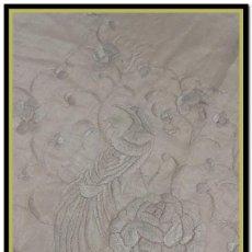 Antigüedades: MANTON ANTIGUO ISABELINO NIÑA O MANTONCILLO FERIA ROSA MUY PÁLIDO (POCO HABITUAL) CUATRO ESQUINAS. Lote 156408774