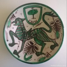 Antigüedades: ANTIGUO PLATO DECORATIVO DE CERÁMICA DE TERUEL - ARTESANO : DOMINGO PUNTER - VINTAGE. Lote 156452414