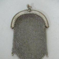 Antigüedades: ANTIGUO BOLSO - MONEDERO EN MALLA DE PLATA - 2 DEPARTAMENTOS - PRINCIPIOS S. XX. Lote 156460466
