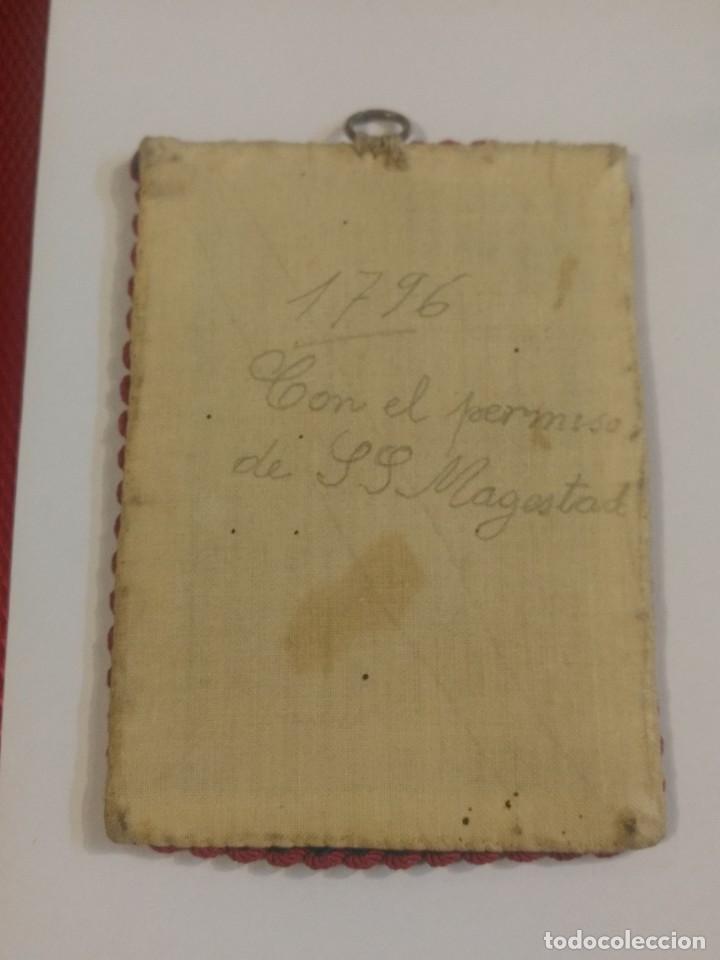 Antigüedades: Marco es seda de la Bendita y alabada sea la Santísima Ttrinidad. 11 x 8 cm - Foto 2 - 156485878