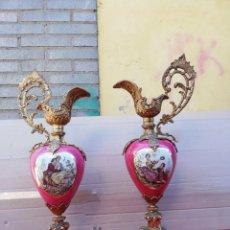 Antiques: IMPRESIONANTE PAREJA DE JARRONES FRANCESES BRONCE Y PORCELANA FIRMADO SIGLO XIX. Lote 159112030