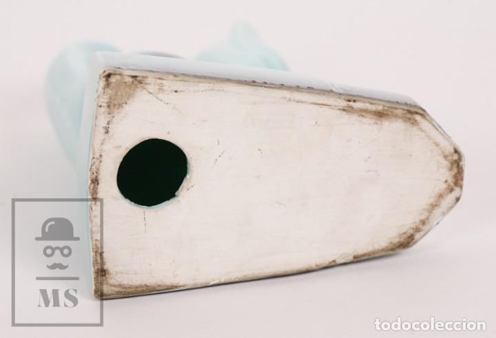 Antigüedades: Figura de Cerámica Vidriada Estilo Art Déco - Gato - Azul Aguamarina - Medidas 12,5 x 7,5 x 14 cm - Foto 7 - 156493310