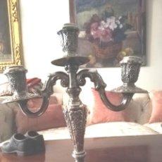 Antigüedades: CANDELABRO ALPACA 3 VELAS. Lote 156493598