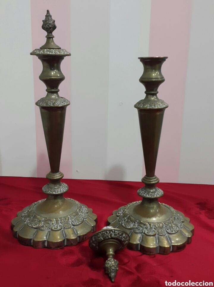 Antigüedades: ANTIGUOS CANDELABROS DE IGLESIA ALTAR - Foto 8 - 112546852