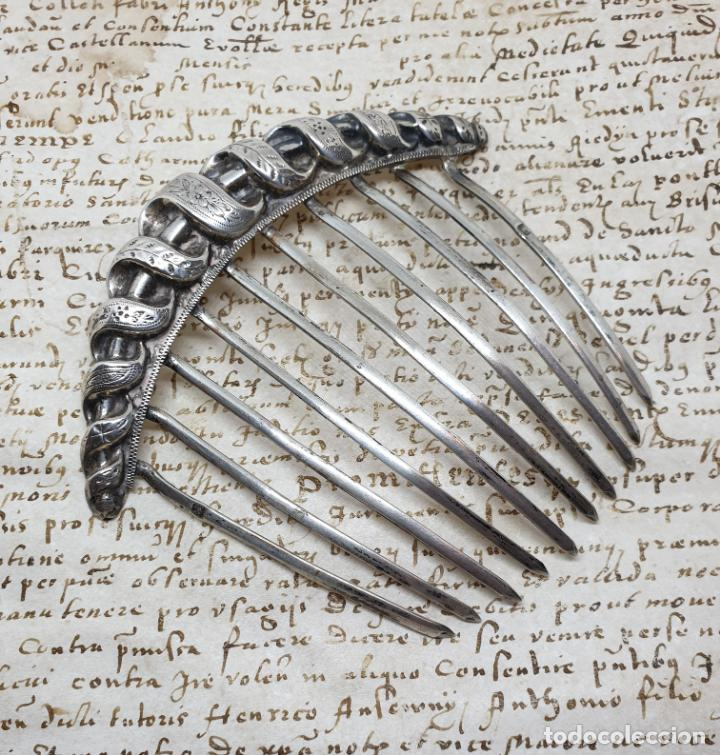 Antigüedades: PRECIOSA PEINETA EN PLATA CONTRASTADA, DEL S. XIX - Foto 3 - 156539742