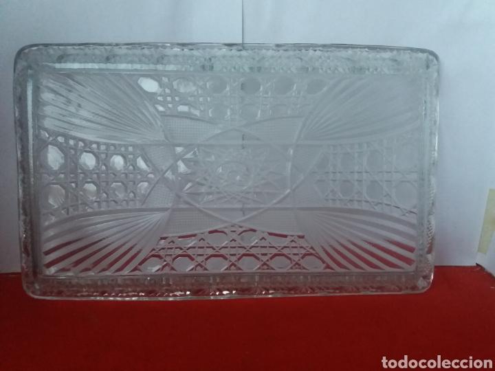 Antigüedades: Bonita bandejas de cristal prensado con seis copas - Foto 3 - 156539780