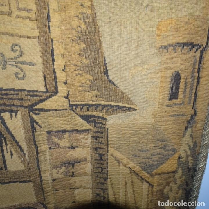 Antigüedades: Antiguo Tapiz estandarte de escena galante. - Foto 7 - 156559926