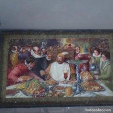 Antigüedades: ANTIGUO TAPIZ PINTADO.GRAN DETALLE.MAESTRO.. Lote 156560518