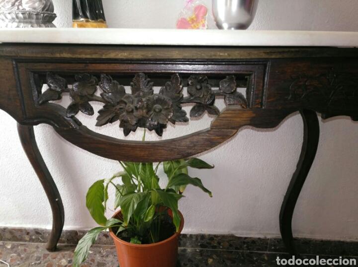 Antigüedades: Consola Pino tallada antigua con marmol - Foto 4 - 156586886