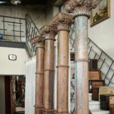 Antigüedades: COLUMNAS DE MADERA DE TEKA ANTIGUAS CON LA BASE DE PIEDRA. Lote 156588600