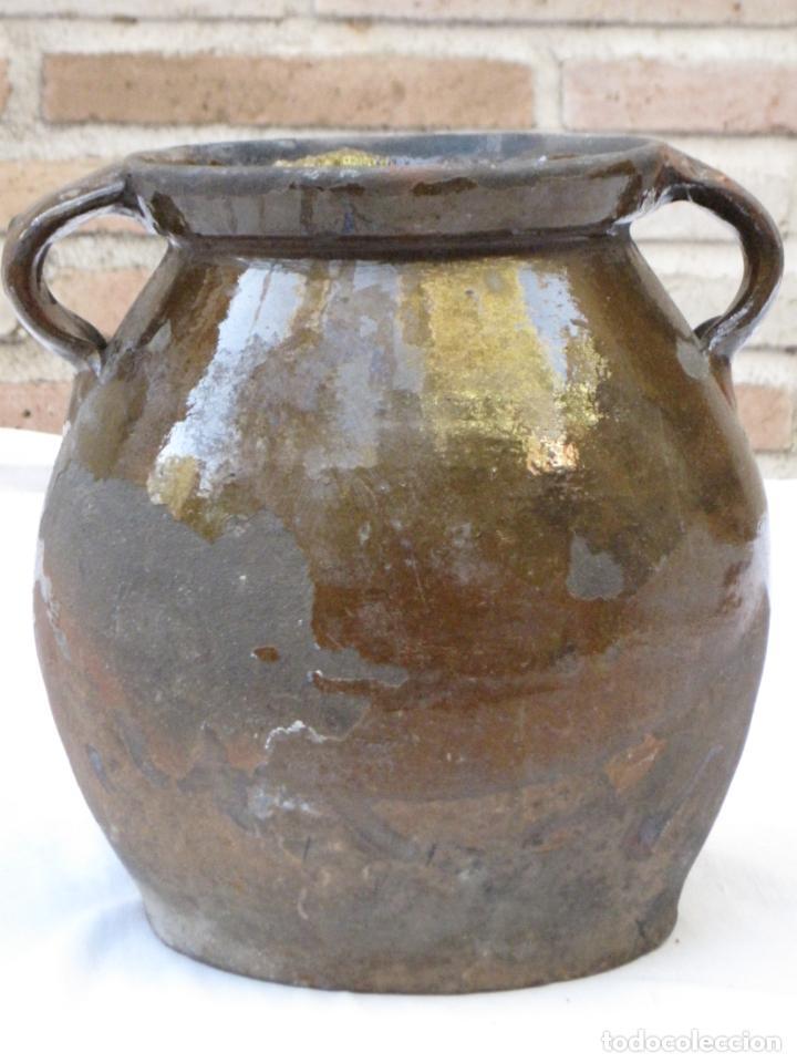 ORZA ANTIGUA DE DOS ASAS EN CERAMICA VIDRIADA - MADRID. (Antigüedades - Porcelanas y Cerámicas - Otras)