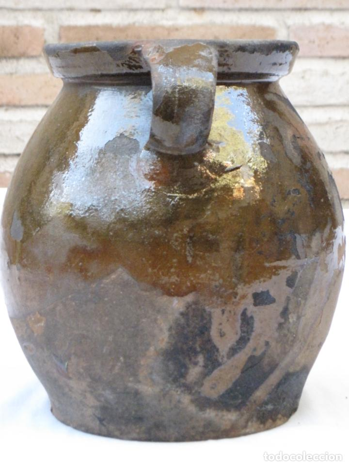 Antigüedades: ORZA ANTIGUA DE DOS ASAS EN CERAMICA VIDRIADA - MADRID. - Foto 2 - 156618618