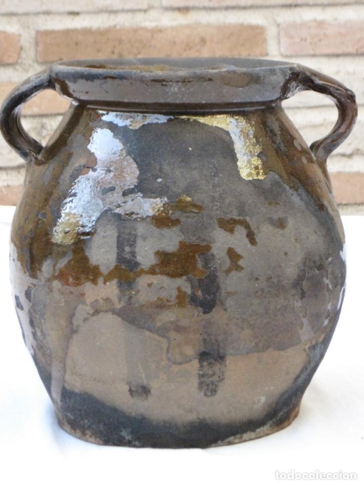 Antigüedades: ORZA ANTIGUA DE DOS ASAS EN CERAMICA VIDRIADA - MADRID. - Foto 3 - 156618618