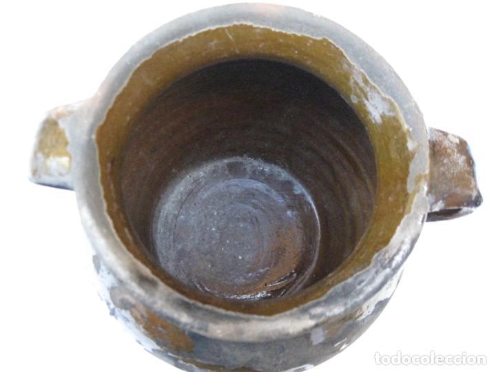 Antigüedades: ORZA ANTIGUA DE DOS ASAS EN CERAMICA VIDRIADA - MADRID. - Foto 6 - 156618618