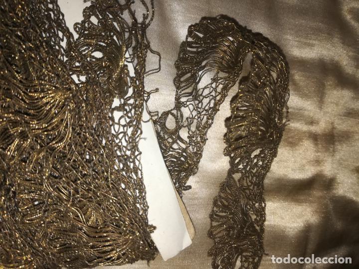 Antigüedades: Encaje antiguo metal oro - Foto 4 - 156632962