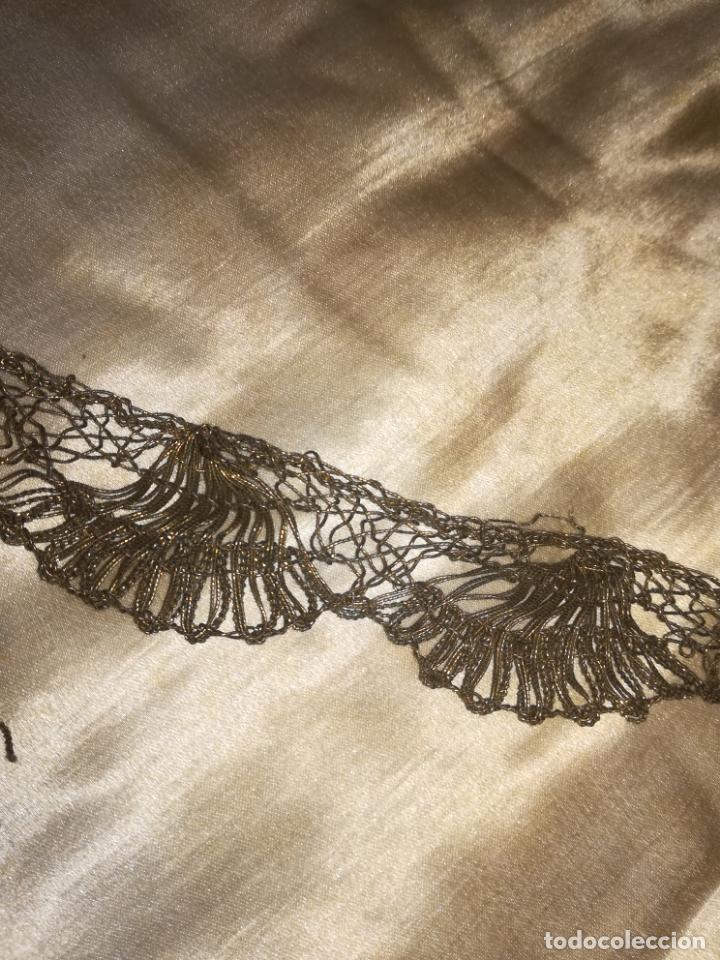 Antigüedades: Encaje antiguo metal oro - Foto 5 - 156632962