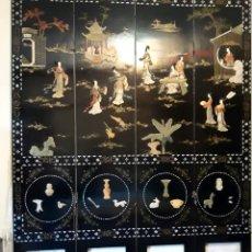 Antigüedades: BIOMBO CHINO ARTESANAL CON INCRUSTACIONES. Lote 156663956