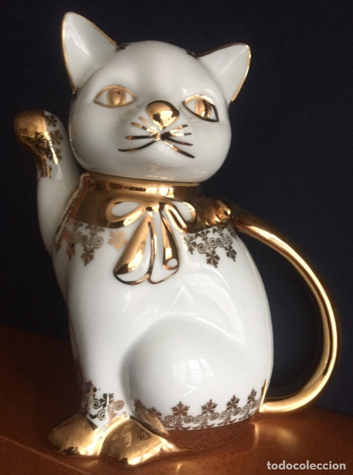 Antigüedades: Tetera forma de Gato Porcelanas SNEROLL Grup BOHEMIA Decorada al Oro - Foto 2 - 156676890