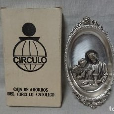 Antigüedades: BANDEJA METÁLICA SILVER PLATED CAJA DE AHORROS DEL CIRCULO CATOLICO . Lote 156724518