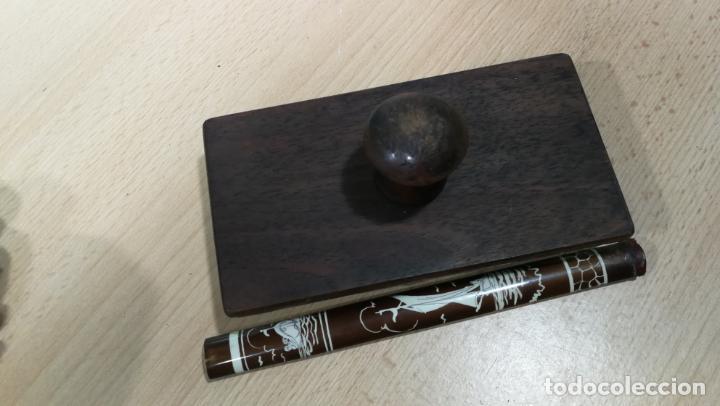 Antigüedades: Antiguo secante de tinta y rara especie de pluma o algo así - Foto 4 - 156746546
