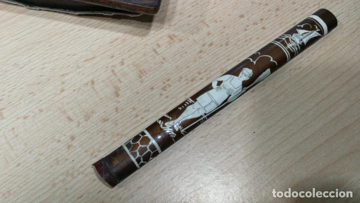 Antigüedades: Antiguo secante de tinta y rara especie de pluma o algo así - Foto 10 - 156746546