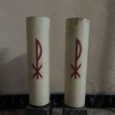 Antigüedades: 2 CANDELABROS, CARTUCHOS Y SIMIL VELA PARA ALTAR. Lote 156750592