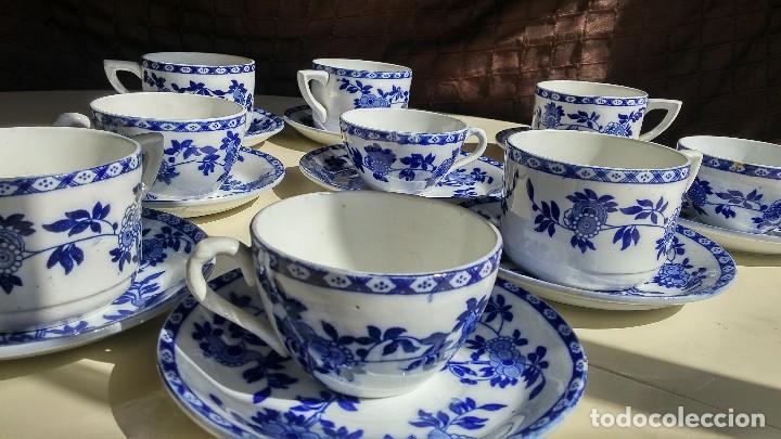 Antigüedades: Juego de 10 tazas y 10 platos SAN JUAN DE AZNALFARACHE, serie INDIA - Foto 2 - 156767494