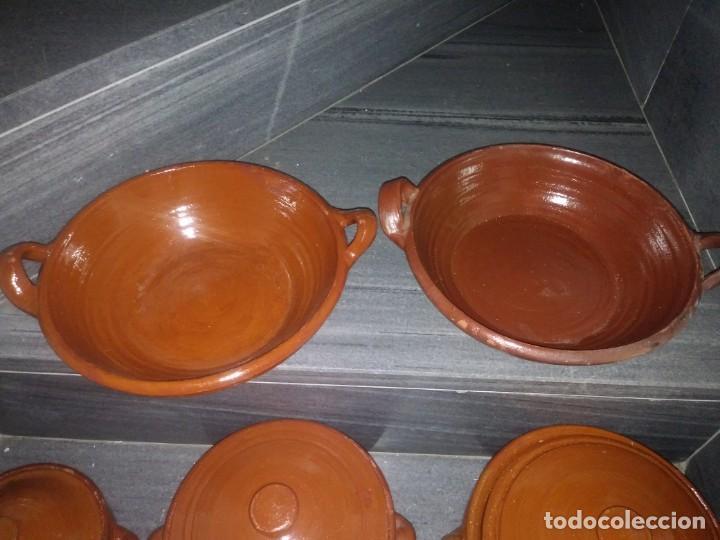Antigüedades: Olla cuenco cazuela con tapadera puchero ceramica barro chimenea lumbre horno bateria de cocina - Foto 5 - 156771406