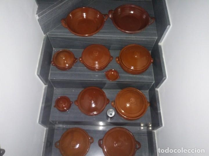 Antigüedades: Olla cuenco cazuela con tapadera puchero ceramica barro chimenea lumbre horno bateria de cocina - Foto 9 - 156771406