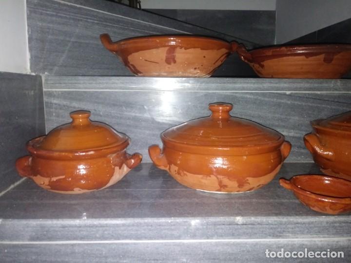 Antigüedades: Olla cuenco cazuela con tapadera puchero ceramica barro chimenea lumbre horno bateria de cocina - Foto 10 - 156771406