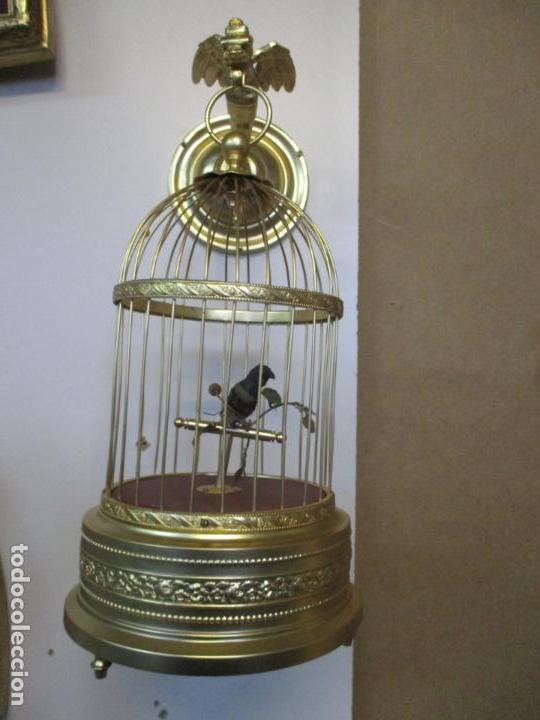 Antigüedades: Preciosa Jaula con Soporte de Bronce - Pájaro Colibrí, Autómata - Francia - Principios S. XX - Foto 2 - 156794682