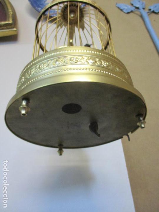 Antigüedades: Preciosa Jaula con Soporte de Bronce - Pájaro Colibrí, Autómata - Francia - Principios S. XX - Foto 3 - 156794682