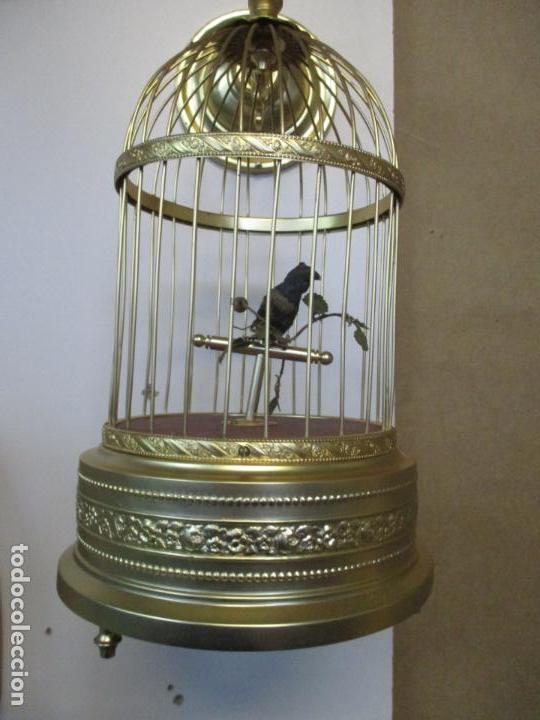 Antigüedades: Preciosa Jaula con Soporte de Bronce - Pájaro Colibrí, Autómata - Francia - Principios S. XX - Foto 5 - 156794682