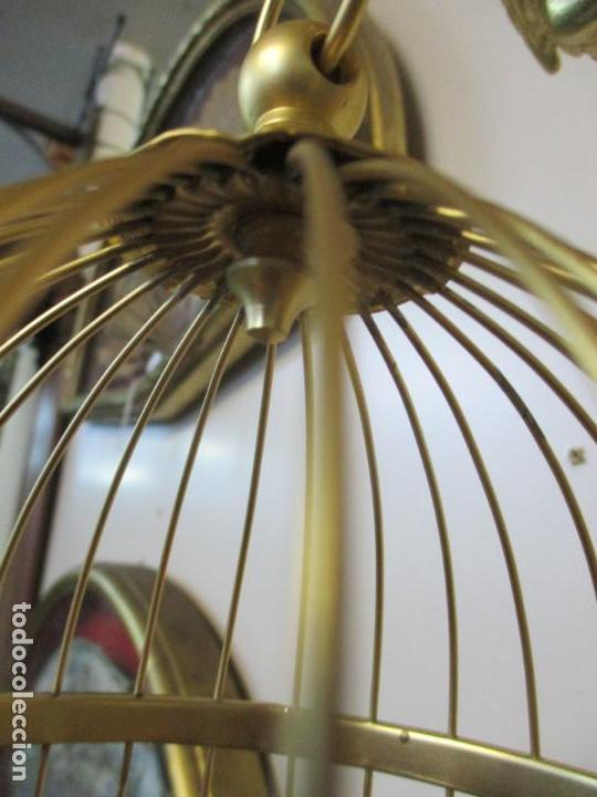 Antigüedades: Preciosa Jaula con Soporte de Bronce - Pájaro Colibrí, Autómata - Francia - Principios S. XX - Foto 16 - 156794682