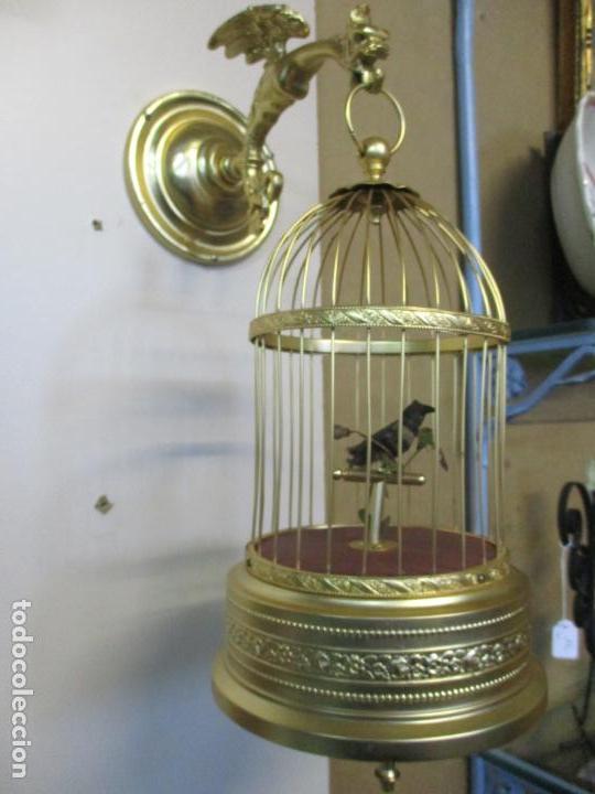Antigüedades: Preciosa Jaula con Soporte de Bronce - Pájaro Colibrí, Autómata - Francia - Principios S. XX - Foto 20 - 156794682