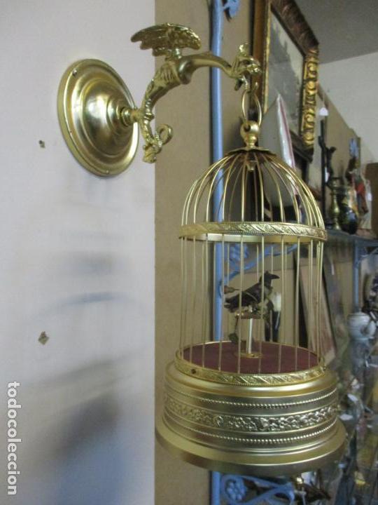 Antigüedades: Preciosa Jaula con Soporte de Bronce - Pájaro Colibrí, Autómata - Francia - Principios S. XX - Foto 21 - 156794682