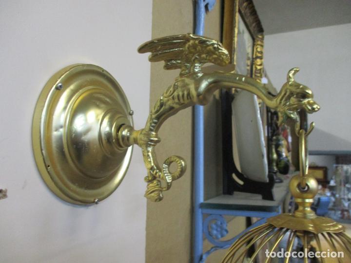Antigüedades: Preciosa Jaula con Soporte de Bronce - Pájaro Colibrí, Autómata - Francia - Principios S. XX - Foto 22 - 156794682