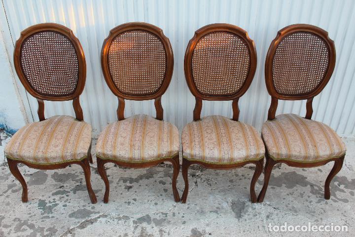 Antigüedades: 4 sillas isabelinas en madera de haya con rejilla - Foto 2 - 156795422