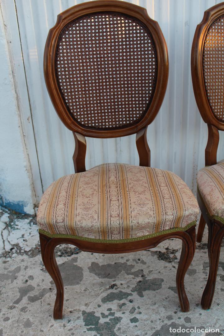 Antigüedades: 4 sillas isabelinas en madera de haya con rejilla - Foto 3 - 156795422