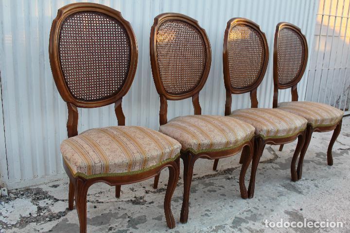 Antigüedades: 4 sillas isabelinas en madera de haya con rejilla - Foto 4 - 156795422