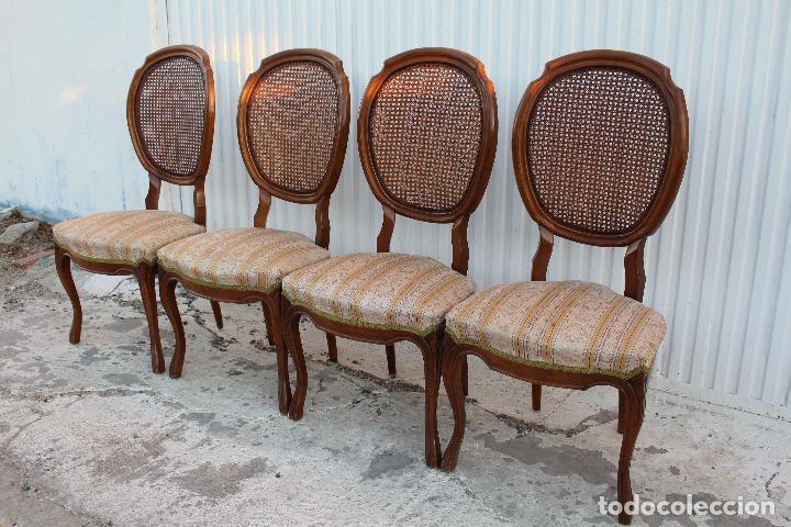Antigüedades: 4 sillas isabelinas en madera de haya con rejilla - Foto 5 - 156795422