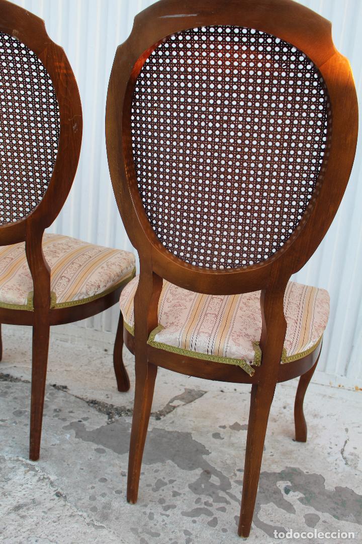 Antigüedades: 4 sillas isabelinas en madera de haya con rejilla - Foto 6 - 156795422