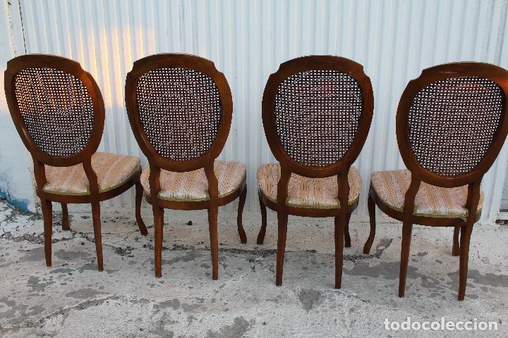 Antigüedades: 4 sillas isabelinas en madera de haya con rejilla - Foto 7 - 156795422