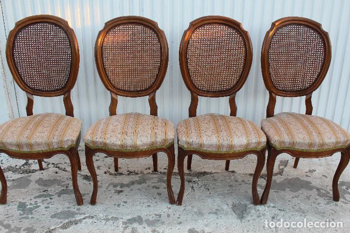 Antigüedades: 4 sillas isabelinas en madera de haya con rejilla - Foto 8 - 156795422