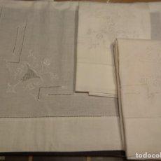 Antigüedades: *SABANA DE LINO BORDADA A MANO.1,75M., CON FUNDAS (RF:LL43/D). Lote 156810486