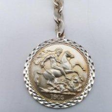 Antigüedades: ANTIGUO LLAVERO EN PLATA DE LEY CONTRASTADA CON PRECIOSA MONEDA ANTIGUA 1905.. Lote 156826190